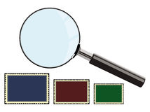 Magnifying glass and stamps. This image represents a magnifying glass and three stamps as a collection for philately Stock Photos