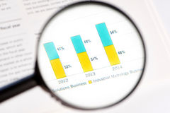 Magnifying glass and statistic Royalty Free Stock Photos