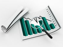 Magnifying glass and statistics Stock Photos