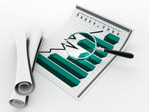 Magnifying glass and statistics Royalty Free Stock Photography