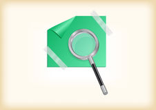 Magnifying glass with sticker Stock Images