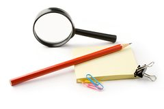 Magnifying glass and stickers Royalty Free Stock Images