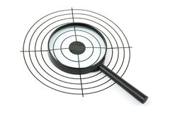 Magnifying glass and target Royalty Free Stock Photos