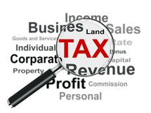 Magnifying Glass and Tax Royalty Free Stock Images