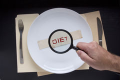 Magnifying glass and text diet. On a plate complete with cutlery royalty free stock images