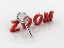 Magnifying glass and text label zoom Royalty Free Stock Photos