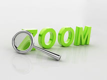 Magnifying glass and text label zoom Stock Images