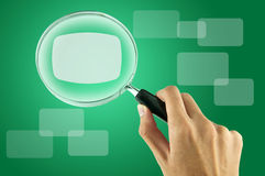 Magnifying glass and textbox. (Business concept Royalty Free Stock Image