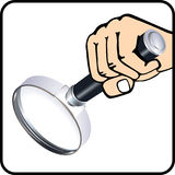 Magnifying glass to check Stock Photography
