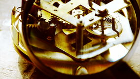 Magnifying glass to enlarge internal structure of Watch,bearings,gears. stock footage