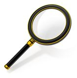 Magnifying glass tool. Black magnifying glass tool isolated on white background - 3d illustration with clipping path included Royalty Free Stock Images