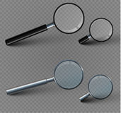 Magnifying glass  on a transparent background.set. The reflection of light and glare.Beautiful black handle.For those who have difficulty seeing.vector Stock Images