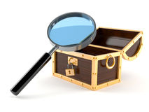 Magnifying glass with treasure chest. On white background Royalty Free Stock Photos