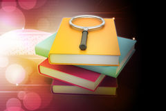 Magnifying glass trying to find the right book Royalty Free Stock Photos