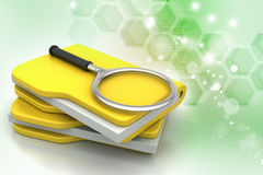 Magnifying glass trying to find the right book Royalty Free Stock Photography