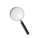 Magnifying glass, vector. Round vector magnifying glass with black plastic handle Royalty Free Stock Images
