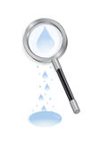 Magnifying glass with waterdrops Stock Image