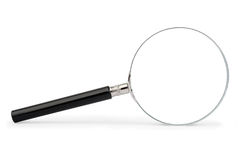 Magnifying glass on white. Magnifying glass with black handle, isolated on white background Stock Images