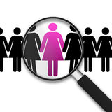 Magnifying Glass and women. Magnifying Glass with Clipart Women on white background Stock Photography