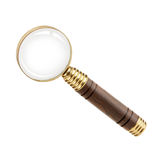 Magnifying glass with a wooden handle Stock Photos