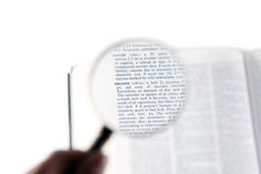 A magnifying glass on the word success Royalty Free Stock Images
