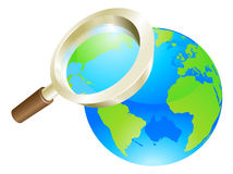 Magnifying glass world earth globe concept. Magnifying glass zooming on world earth globe concept illustration Royalty Free Stock Images