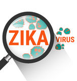 Magnifying glass with Zika virus Royalty Free Stock Photo