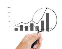 Magnifying glass zoom on a business chart. Magnifying glass zoom on business chart Royalty Free Stock Image