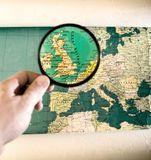 Magnifying glass zoom on United Kingdom stock photography