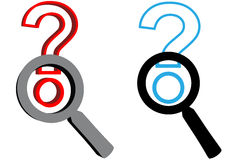 Magnifying Glasses search answer question mark Stock Photography