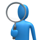 Magnifying Lens. 3d person holding a magnifying lens Stock Images