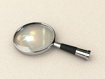 Magnifying lens. The 3D isolated magnifying lens Stock Photo