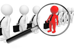 Magnifying lens over grey teamwork with red leader Stock Photos