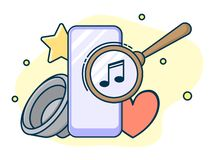 Magnifying lens on screen, search music concept. Line art, flat style vector stock illustration