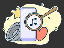 Magnifying lens on screen, search music concept. Line art, flat style vector vector illustration