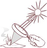 Magnifying lens used to concentrate some solar rays on a piece o. F paper. Digital illustration stock illustration