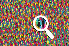 Magnifying looking for people Royalty Free Stock Photography