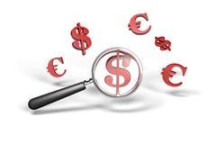 Magnifying money symbol stock photography