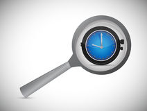 Magnifying optical glass with Alarm Clock icon Royalty Free Stock Images