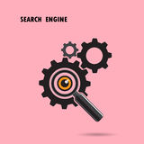 Magnifying optical glass with Gears icon on background. Search e Stock Images