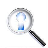 Magnifying optical glass with Keyhole Stock Photography