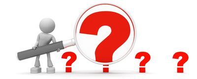 Magnifying the question. Anonymous character magnifying one red question mark, in a row of four red question marks.  Isolated on a white background Royalty Free Stock Photos