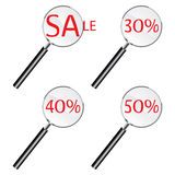 Magnifying sale glass Stock Photography