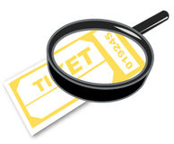 Magnifying ticket Stock Images