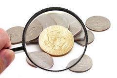 Magnifying usa coins Stock Photos