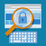 Magnifying website, Internet security. Vector flat design Royalty Free Stock Images