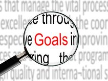 Magnifying on Word Goals Stock Photo