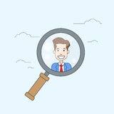 Magnifying Zoom Glass Business Person Portrait Candidate Concept Recruitment Royalty Free Stock Photo