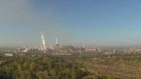 Magnitogorsk, Aerial View, Smoke pipe stock video footage