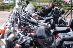 Magnitogorsk, Russia, - August, 30, 2014. Biker rests in the parking lot of motorcycles in the town square stock photos